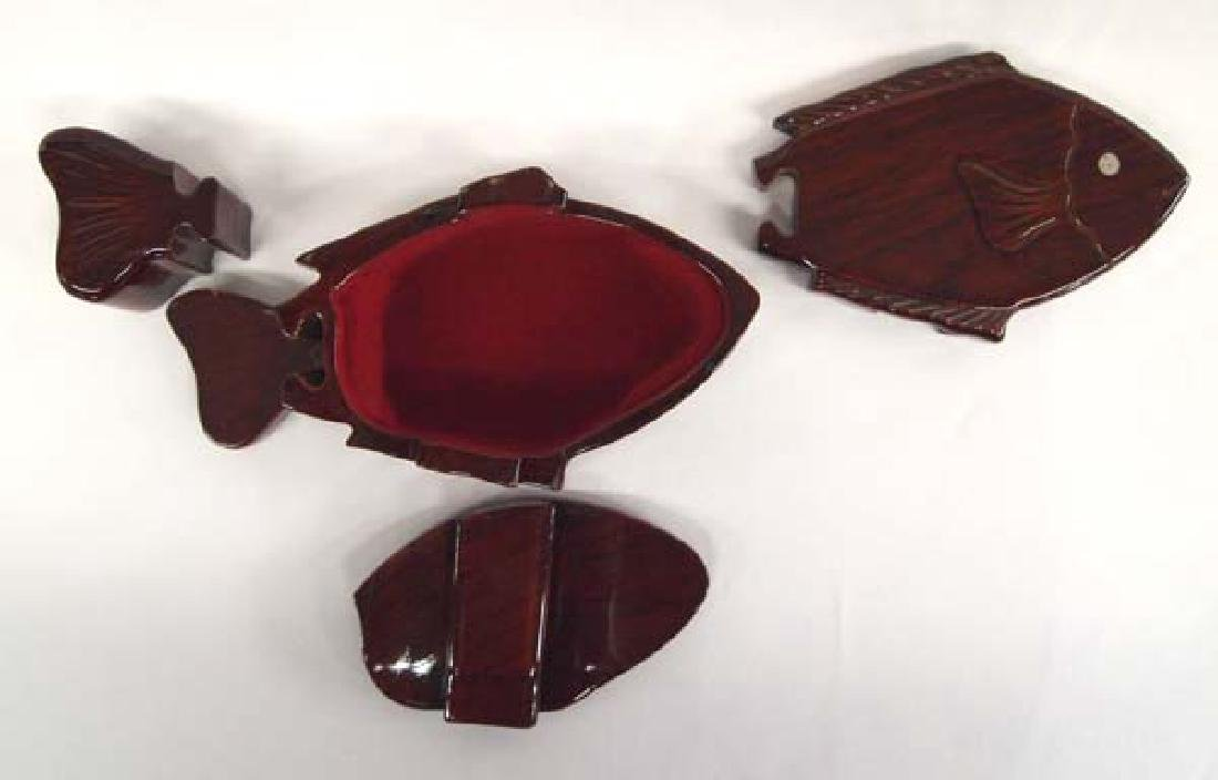 Carved and Laquered Wood Fish Puzzle Box - 2