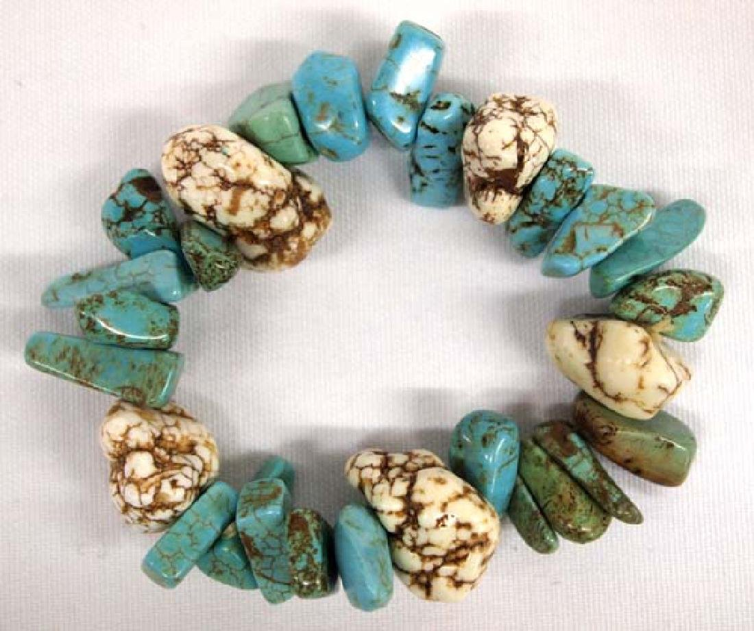 Natural Turquoise Nugget Stretch Bracelet