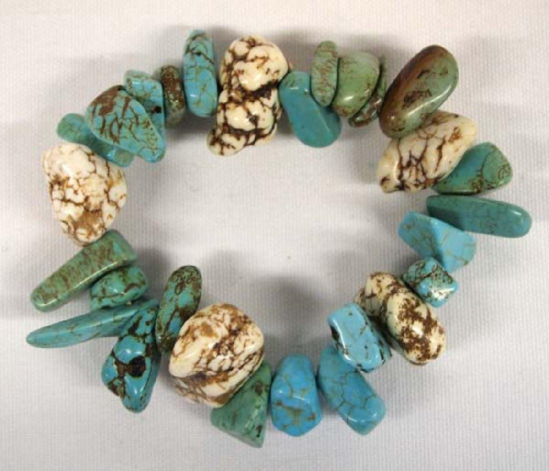 Natural Turquoise Nugget Stretch Bracelet - 2