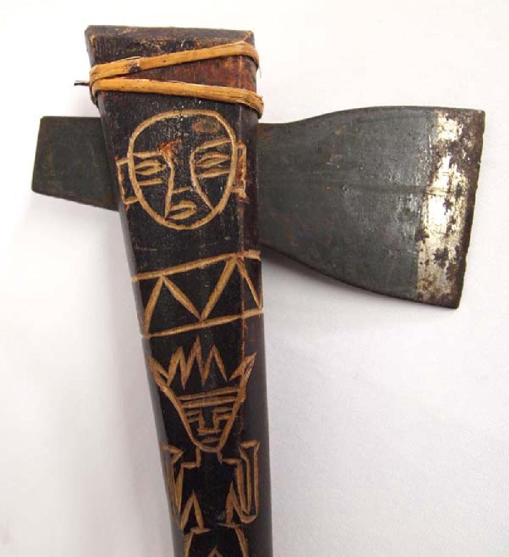 Ethnic Carved Wood and Metal Tomahawk - 2