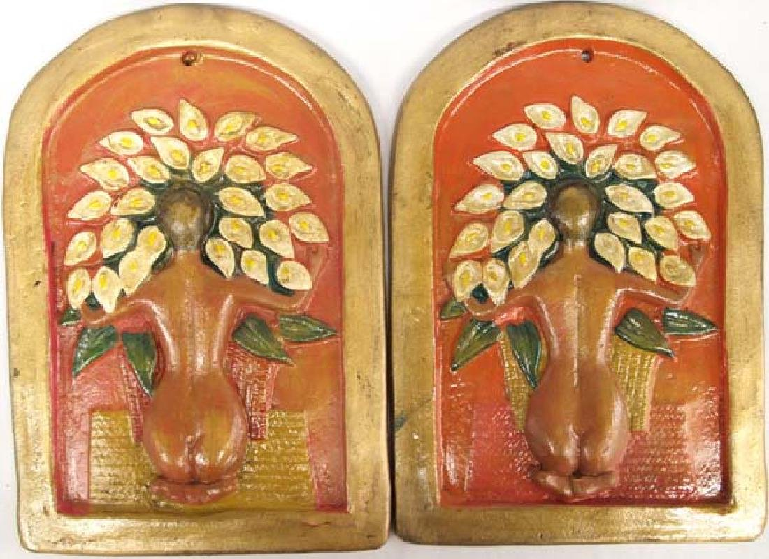 2 Mexican Pottery Diego Rivera Plaques