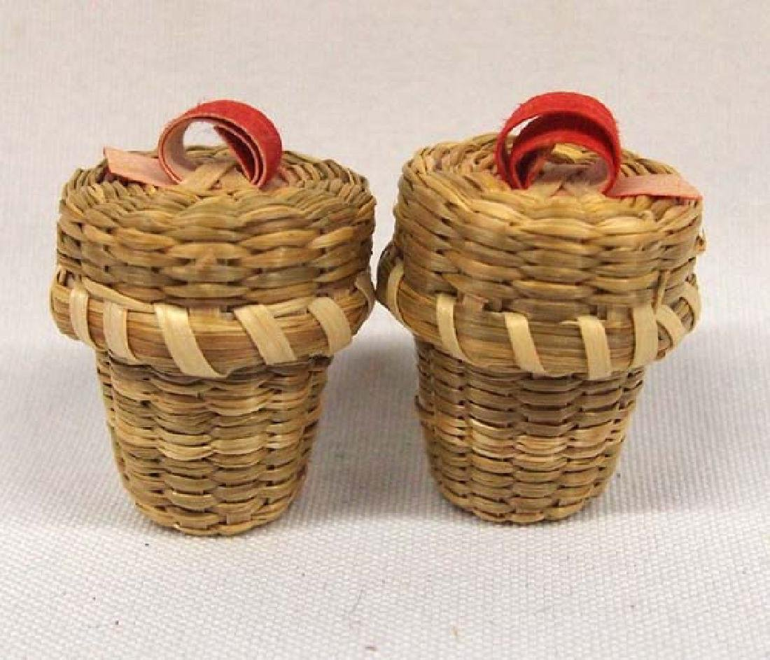 2 Native American Mohawk Thimble Baskets