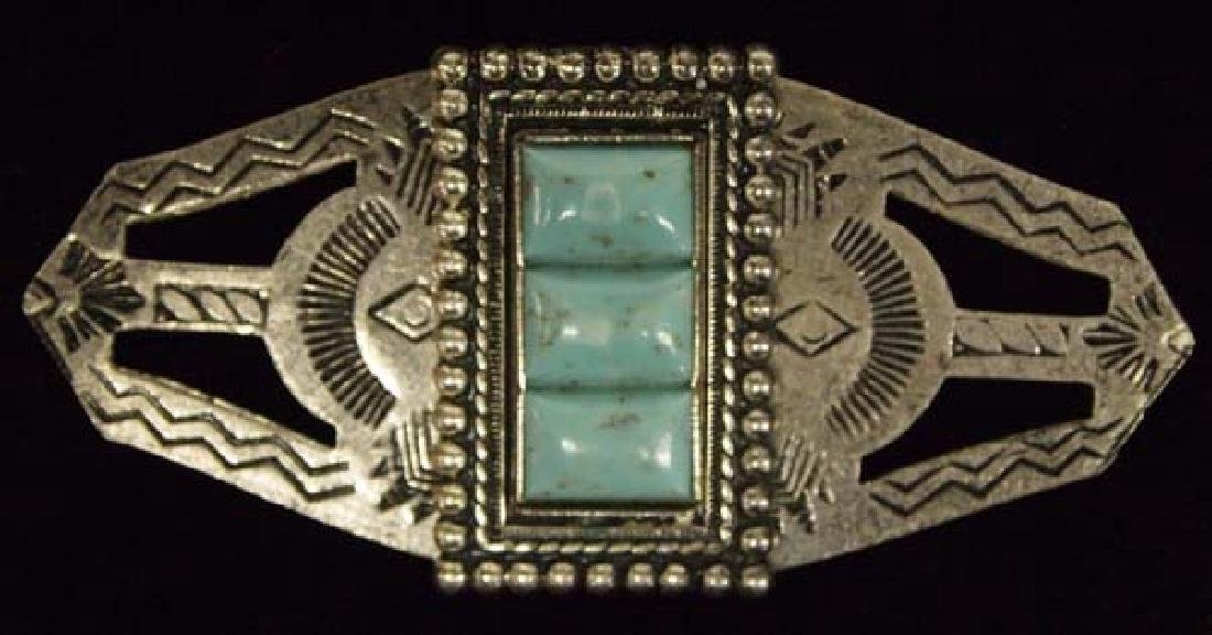 Sterling Silver & Turquoise Pin
