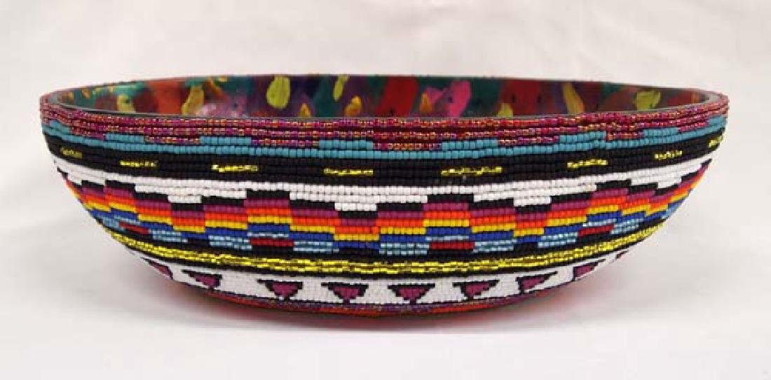 Hand Beaded and Painted Wood Bowl by Kills Thunder