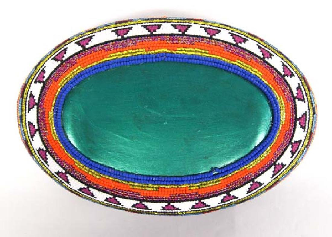 Hand Beaded and Painted Wood Bowl by Kills Thunder - 3