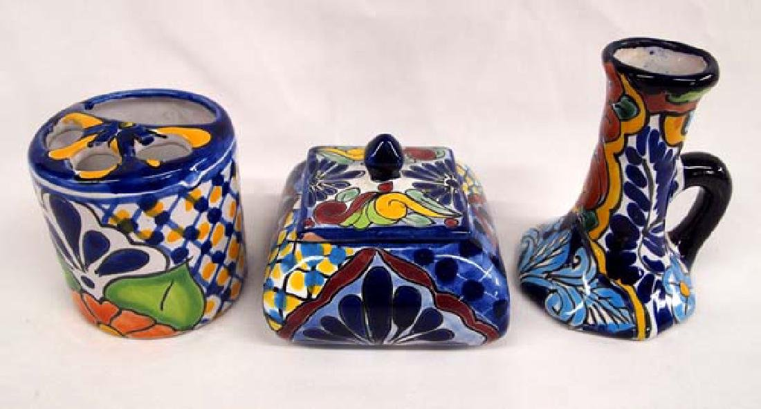 3 Mexican Talavera Pottery Pieces