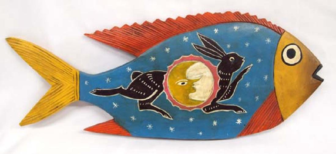 Oaxaca Mexico Carved & Hand Painted Wood Fish
