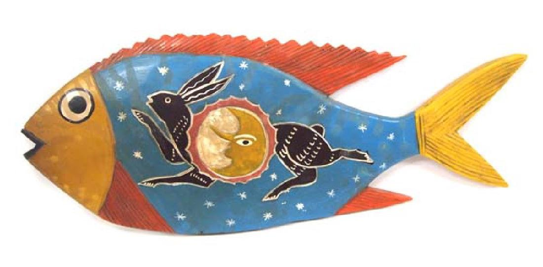 Oaxaca Mexico Carved & Hand Painted Wood Fish - 2
