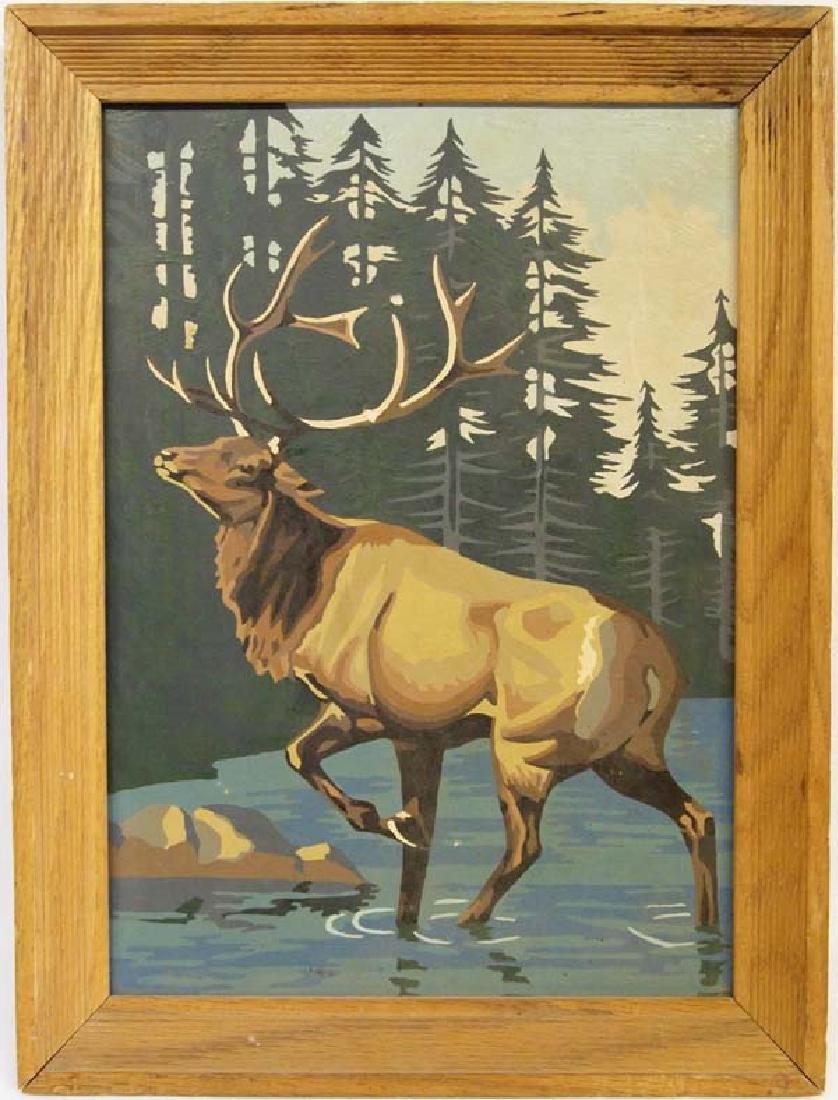 Vintage Framed Paint by Number Elk Painting
