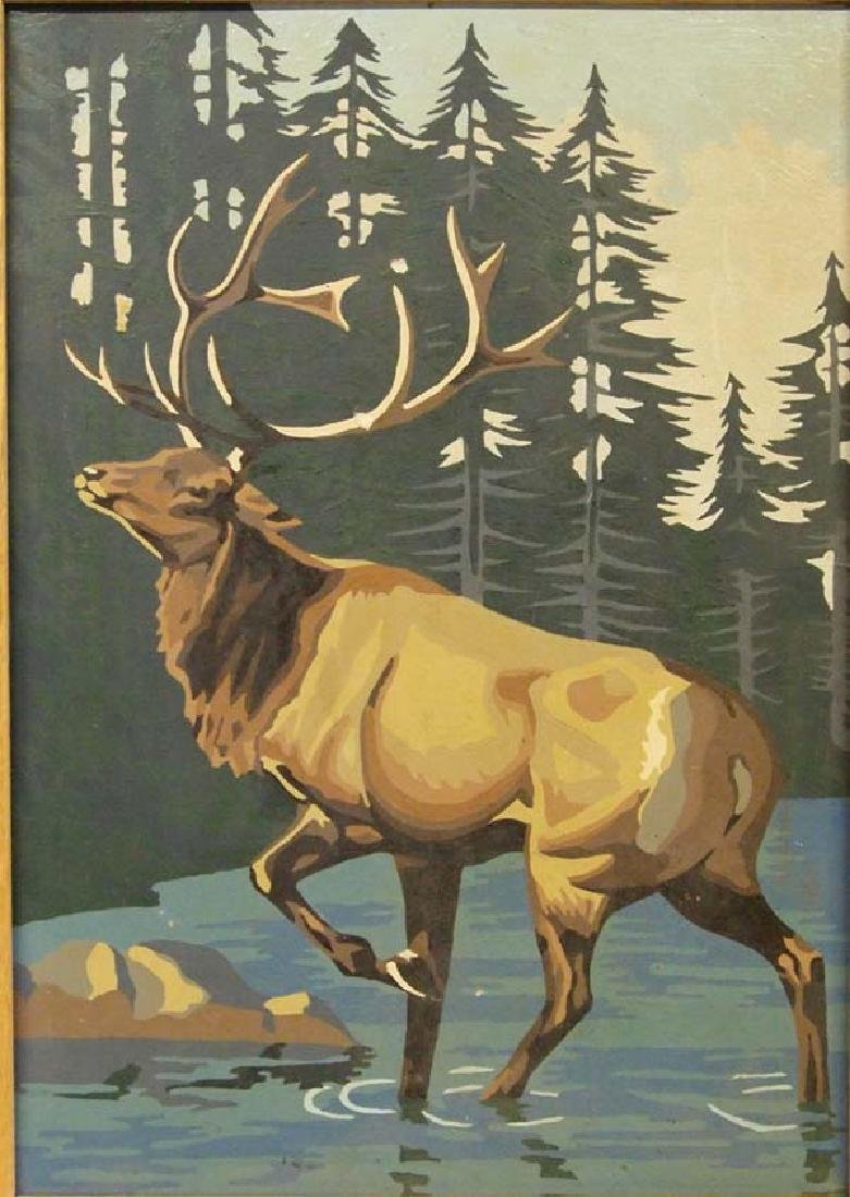 Vintage Framed Paint by Number Elk Painting - 2