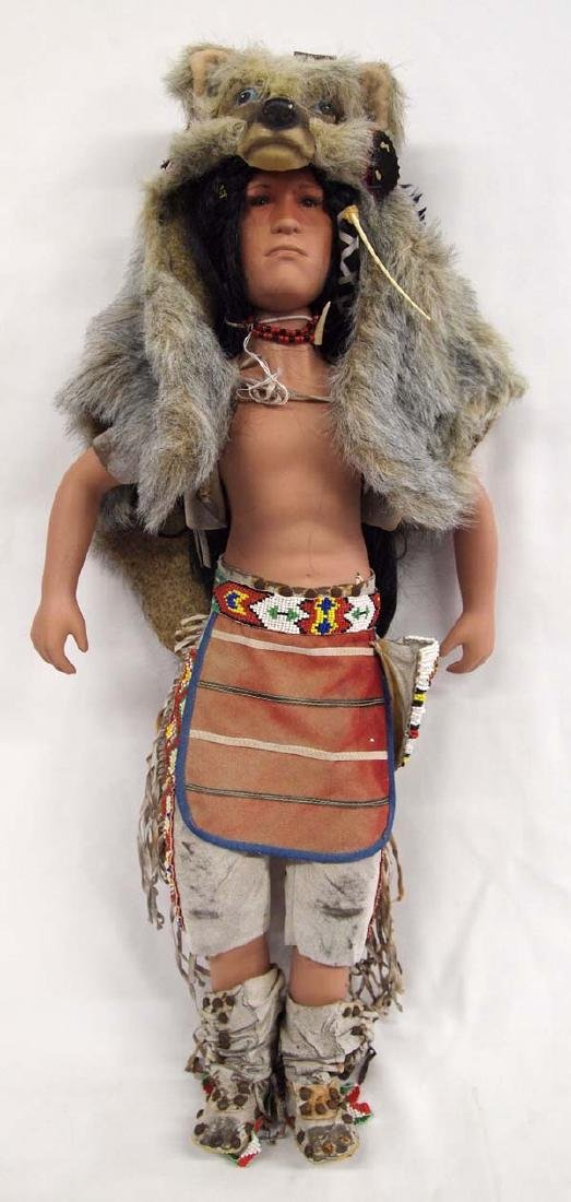 Large Porcelain Native American Doll, Full Regalia