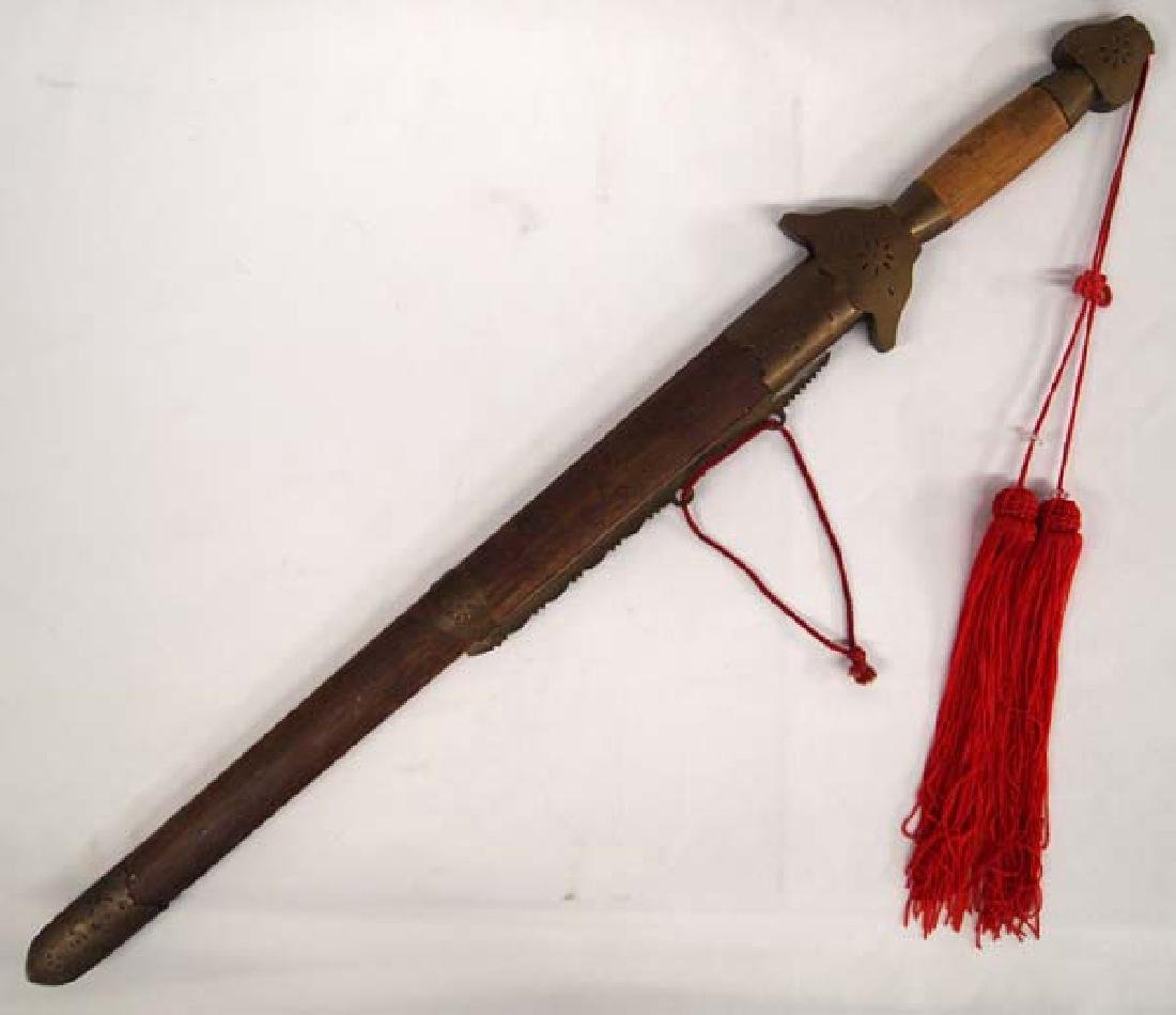 Asian Sword in Wood and Brass Scabbard