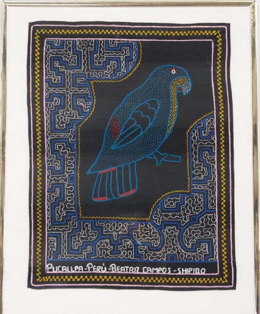 Framed Shipibo Hand Embroidered Green Parrot