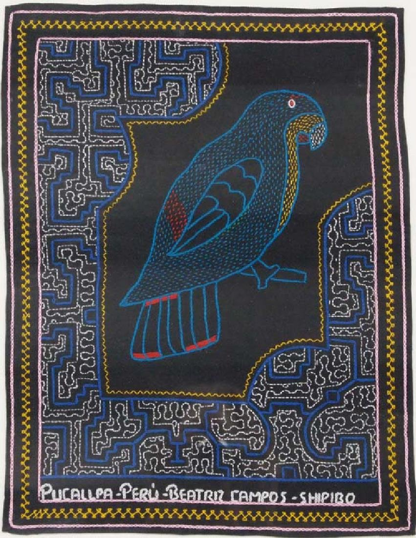 Framed Shipibo Hand Embroidered Green Parrot - 2
