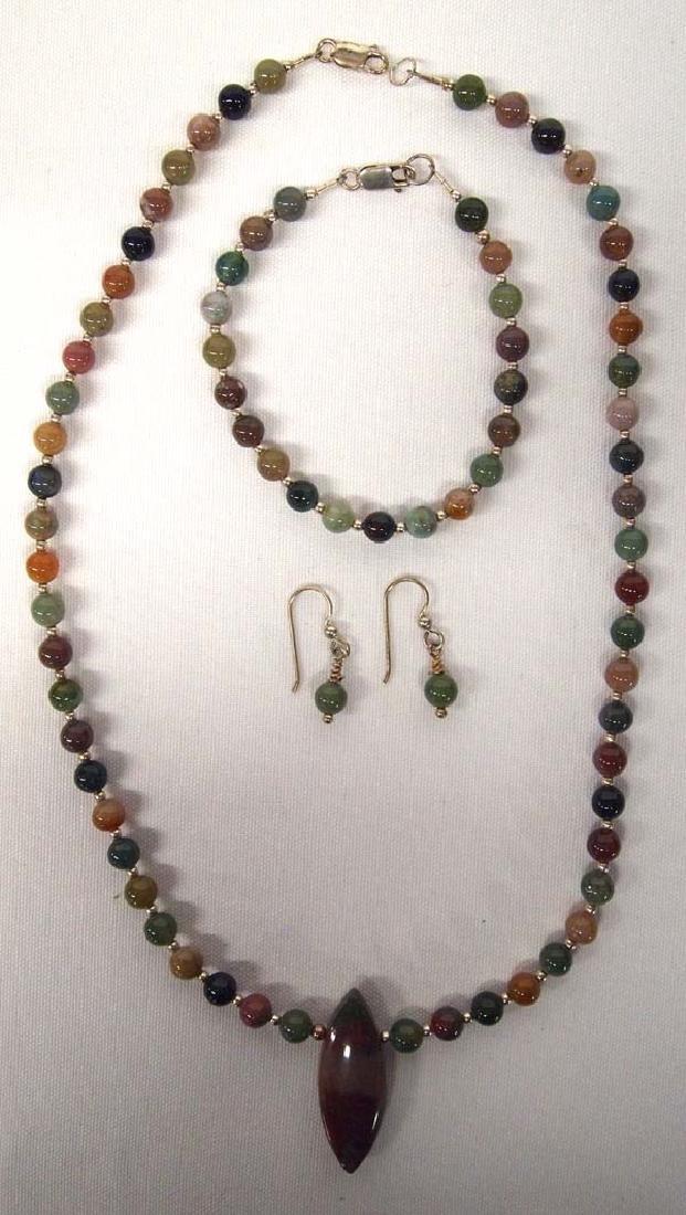 Jasper Agate Necklace, Earrings & Bracelet Set