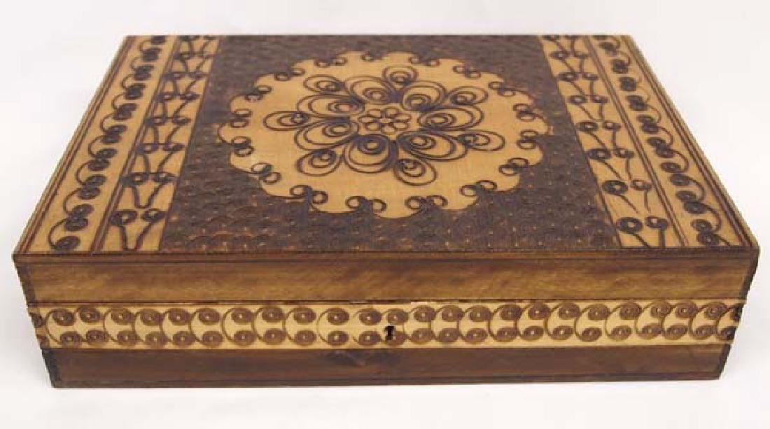 Wood Marquetry Hinged Box with Intricate Design