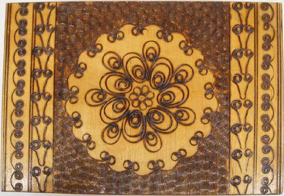 Wood Marquetry Hinged Box with Intricate Design - 3