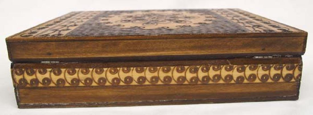 Wood Marquetry Hinged Box with Intricate Design - 4