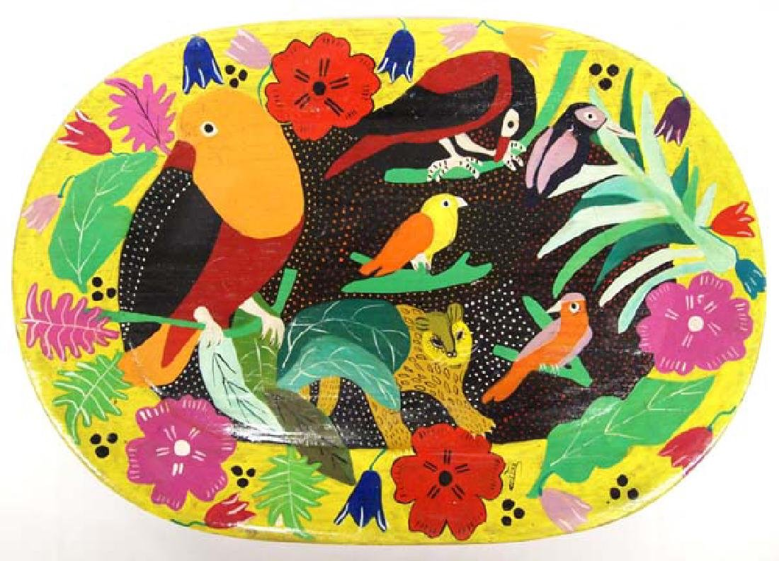 Mexican Hand Painted Wooden Tray by Christina