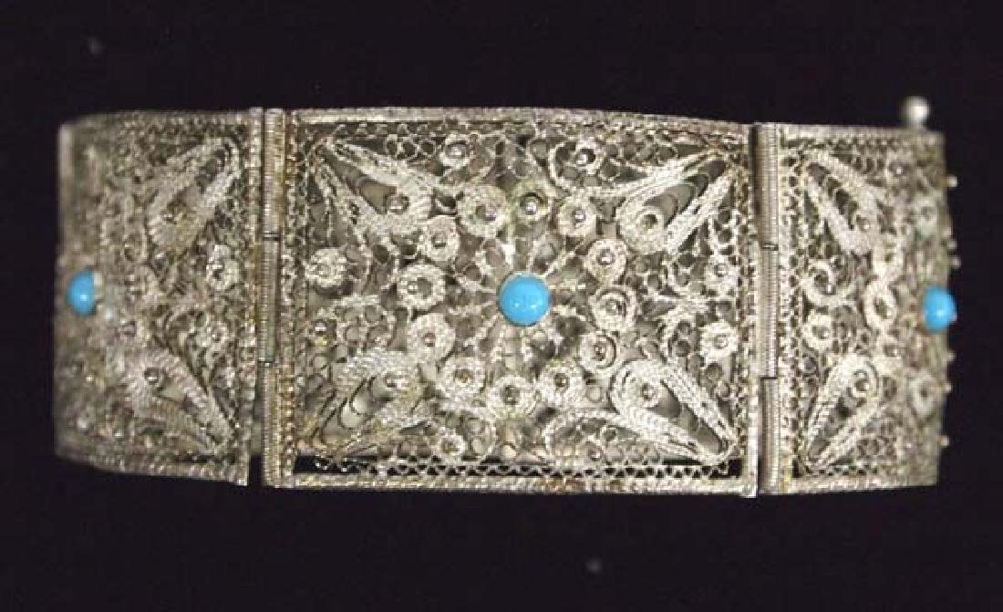 Silver Filagree & Turquoise Bracelet