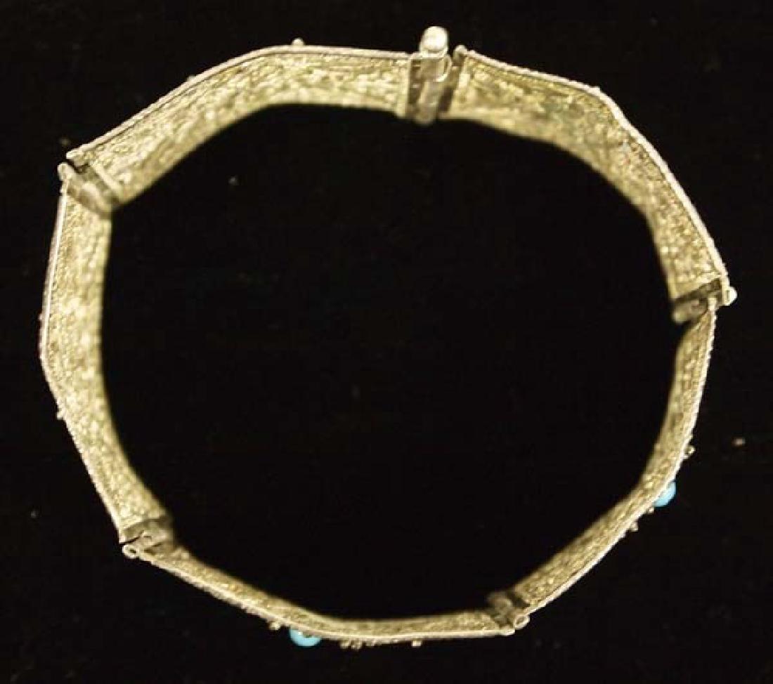 Silver Filagree & Turquoise Bracelet - 2