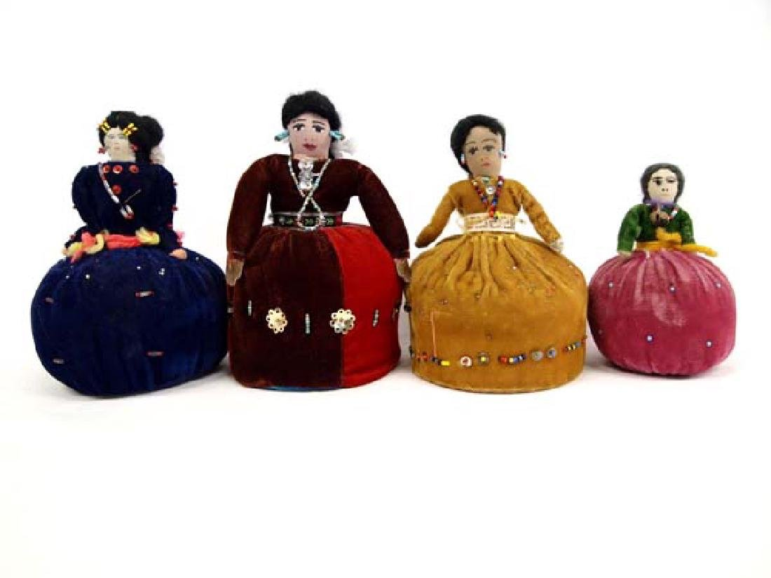 4 Native American Navajo Pin Cushion Dolls