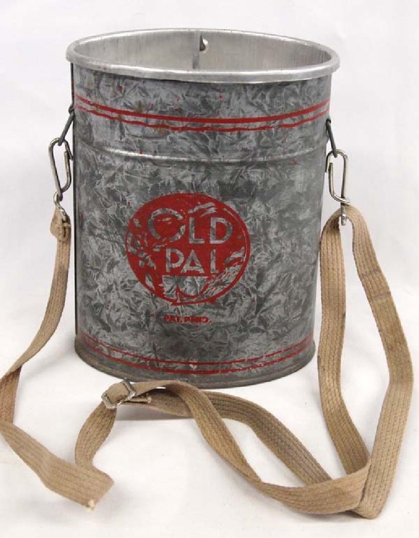 Vintage Old Pal Galvanized Tin Minnow Bucket