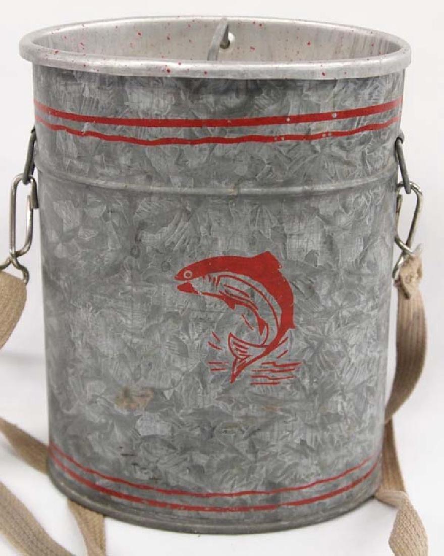 Vintage Old Pal Galvanized Tin Minnow Bucket - 2