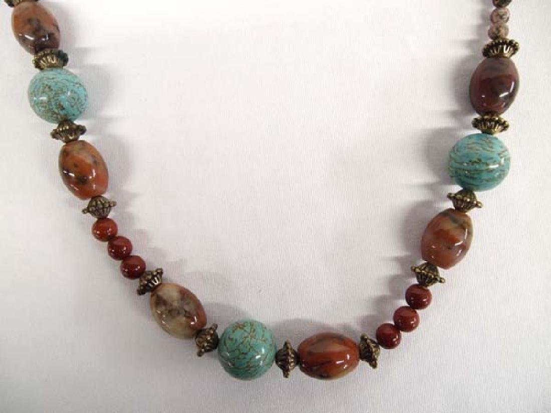 Turquoise and Agate Bead Necklace