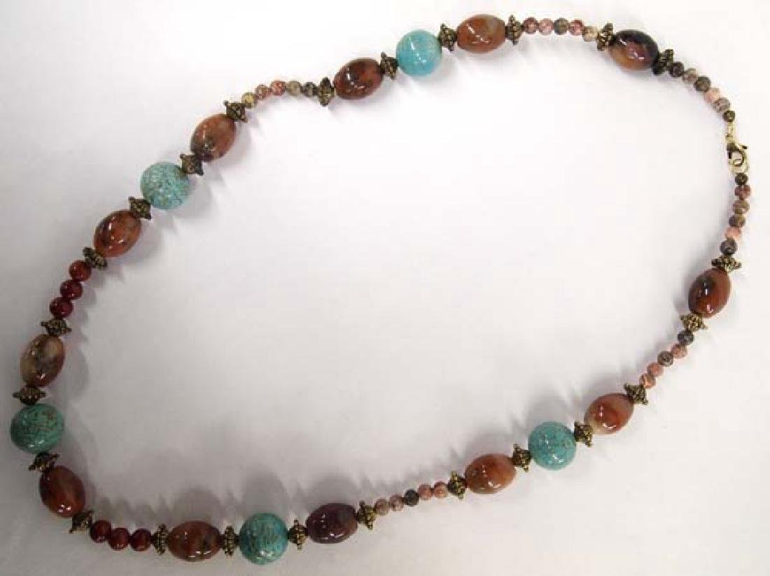 Turquoise and Agate Bead Necklace - 2