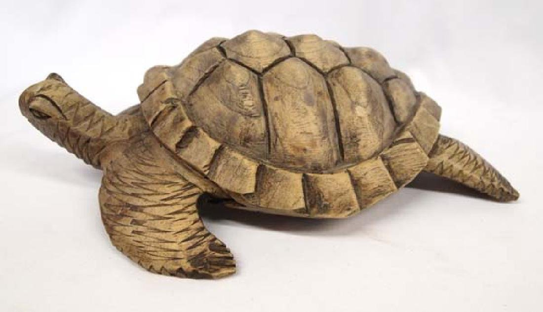 Carved Wooden Turtle - 2