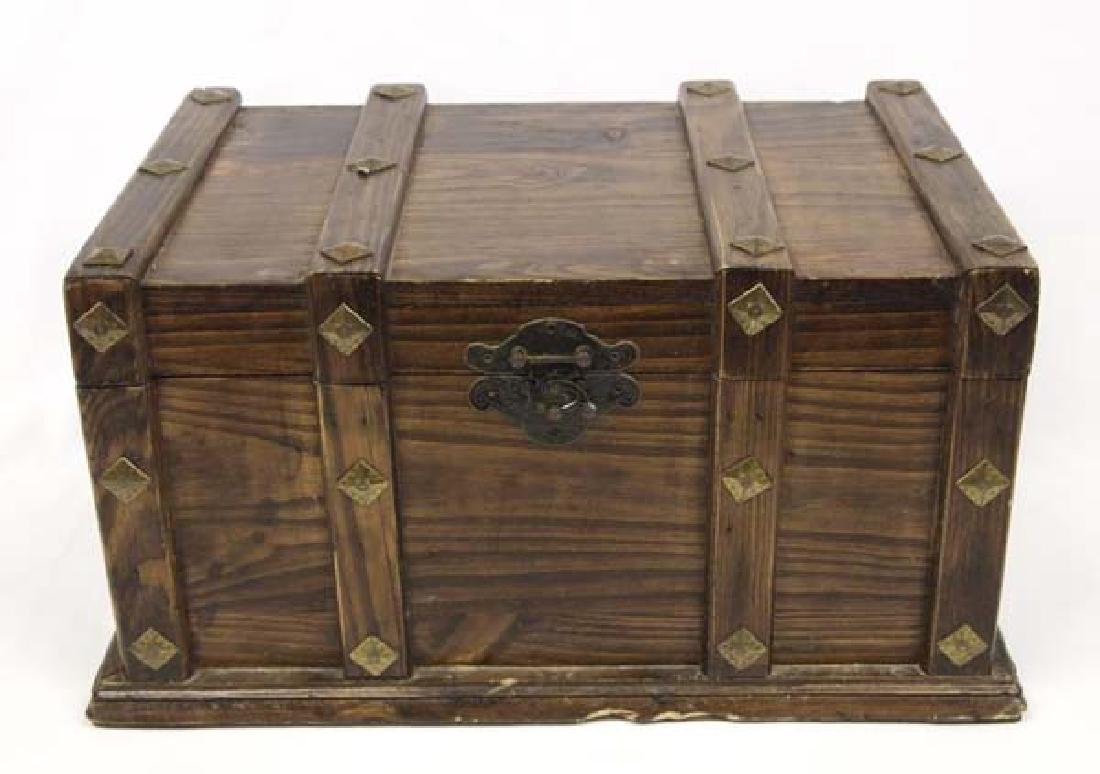 Wood and Brass Lidded Hinged Box