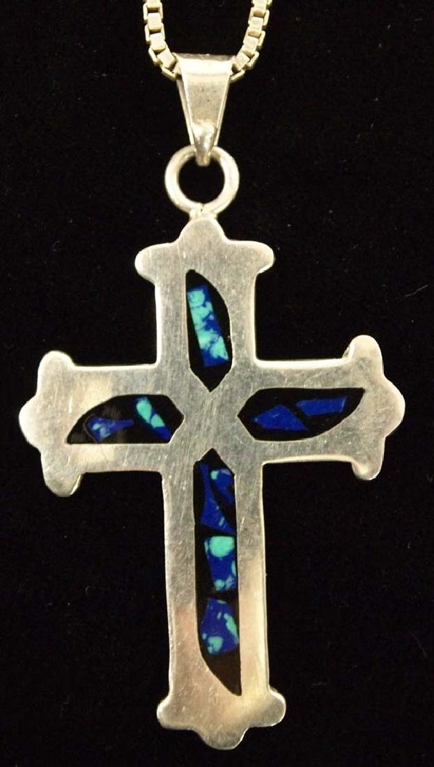 Sterling Inlay Turquoise Cross Pendant Necklace