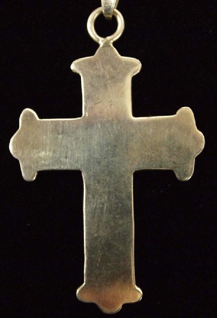 Sterling Inlay Turquoise Cross Pendant Necklace - 3