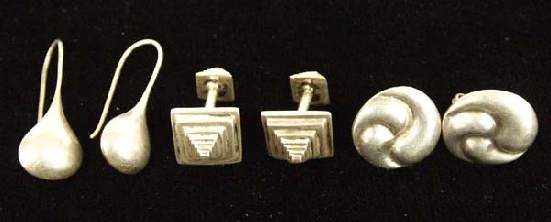 Sterling Silver Earrings and Set of Cufflinks