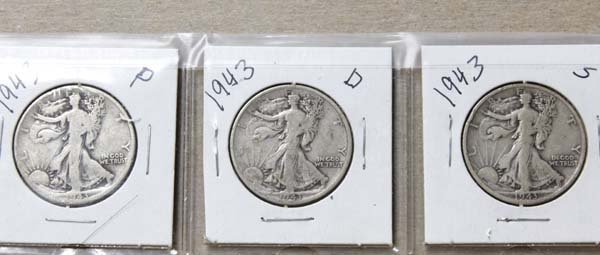 3 1943 Walking Liberty Half Dollars