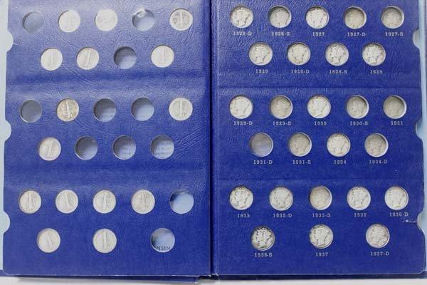 1 Book of 56 Silver Mercury Dimes 1916-1945S