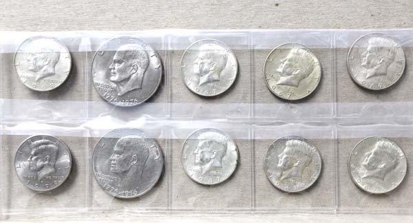 8 Kennedy Half Dollars & 2 Ike Dollars