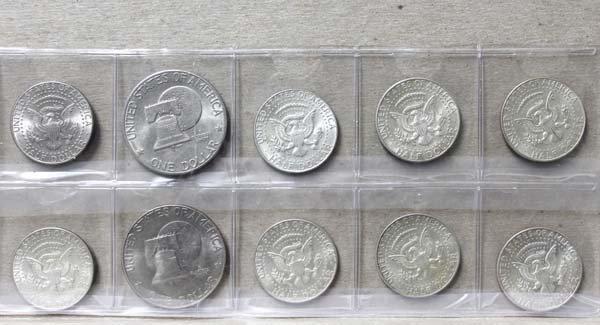 8 Kennedy Half Dollars & 2 Ike Dollars - 2