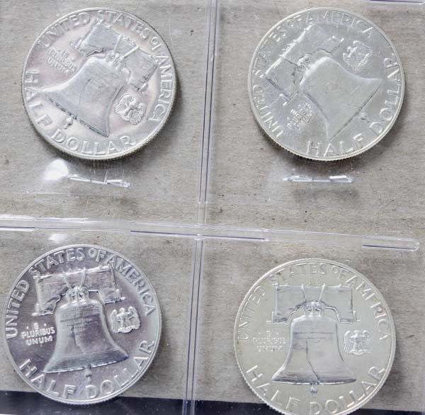 4 Franklin Silver Half Dollars - 2