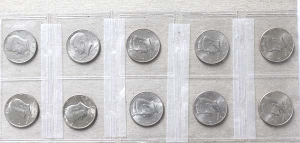 10 Kennedy Half Dollars Various Dates