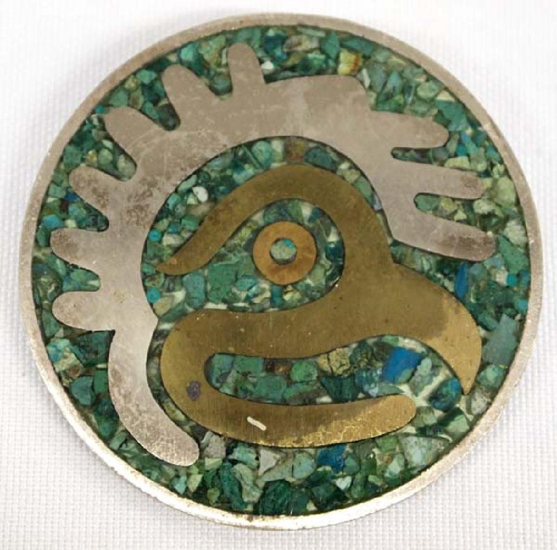 Vintage Taxco Sterling Chip Inlay Turquoise Pin Pendant