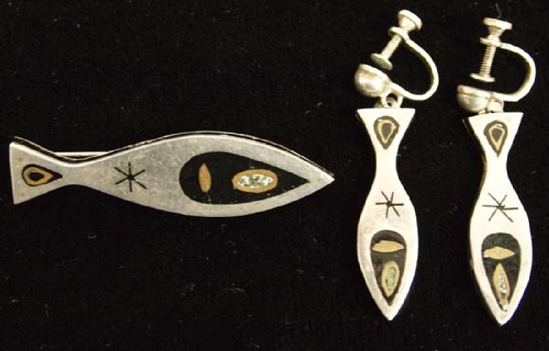 Mexican Taxco Sterling Inlay Earrings and Pin