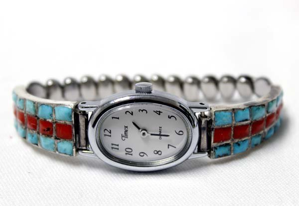 Navajo Sterling Turquoise Coral Watch Band