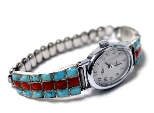 Navajo Sterling Turquoise Coral Watch Band - 2