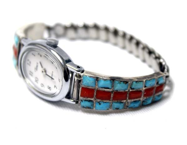 Navajo Sterling Turquoise Coral Watch Band - 3