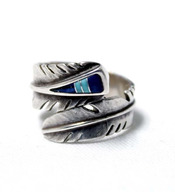 Navajo Sterling Inlay Feather Ring by M. Kirk