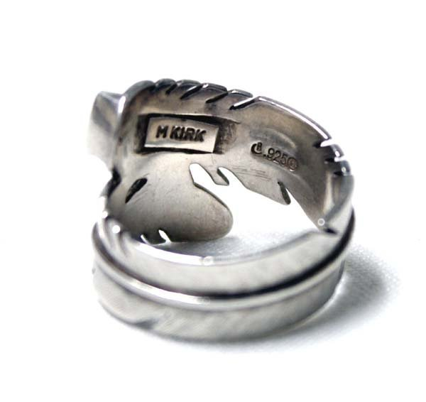 Navajo Sterling Inlay Feather Ring by M. Kirk - 3