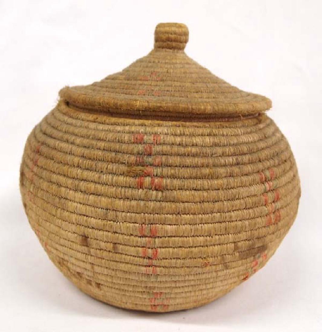 Vintage Eskimo Tri Colored Lidded Basket