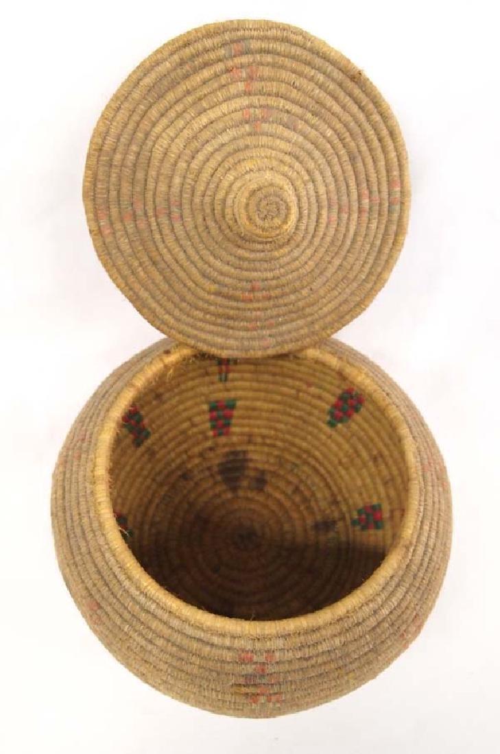 Vintage Eskimo Tri Colored Lidded Basket - 2